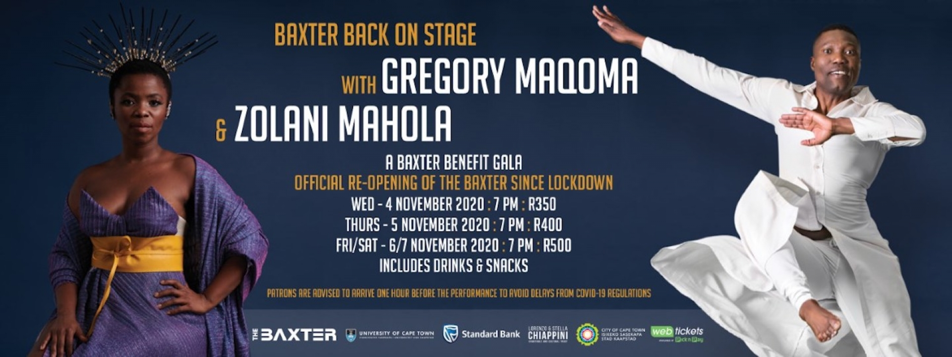 Baxter Back on Stage with Gregory Maqoma and Zolani Mahola